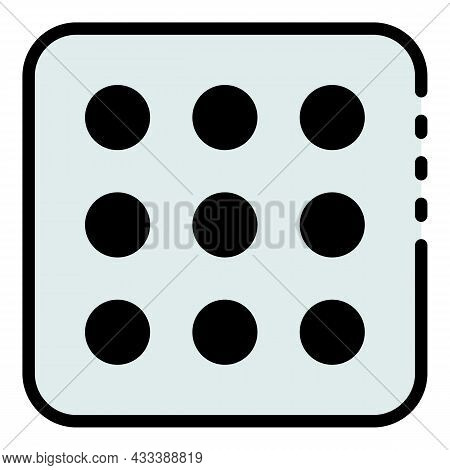 Nine Point Dice Icon. Outline Nine Point Dice Vector Icon Color Flat Isolated
