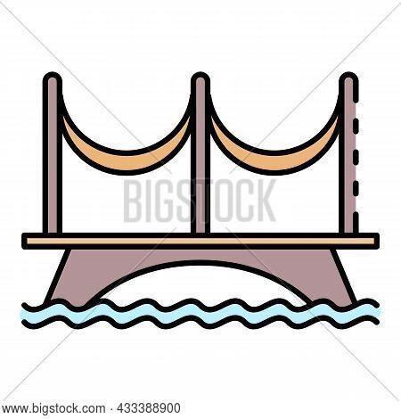 River Bridge Icon. Outline River Bridge Vector Icon Color Flat Isolated