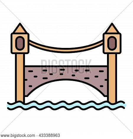 Brick Bridge Icon. Outline Brick Bridge Vector Icon Color Flat Isolated