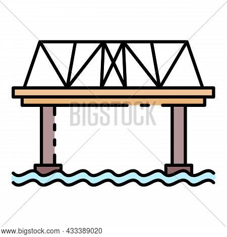 Railway Bridge Icon. Outline Railway Bridge Vector Icon Color Flat Isolated