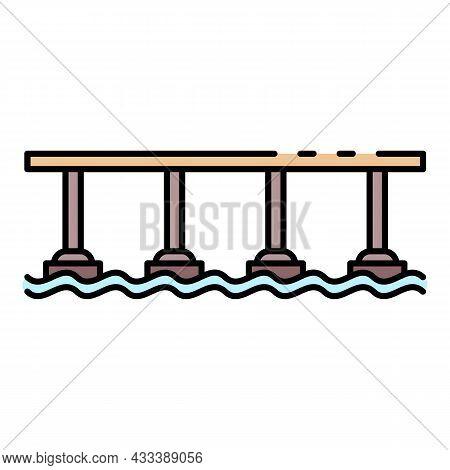 Pillar Bridge Icon. Outline Pillar Bridge Vector Icon Color Flat Isolated