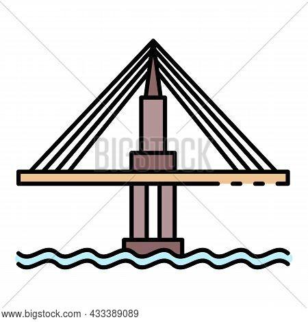 Cable Bridge Icon. Outline Cable Bridge Vector Icon Color Flat Isolated