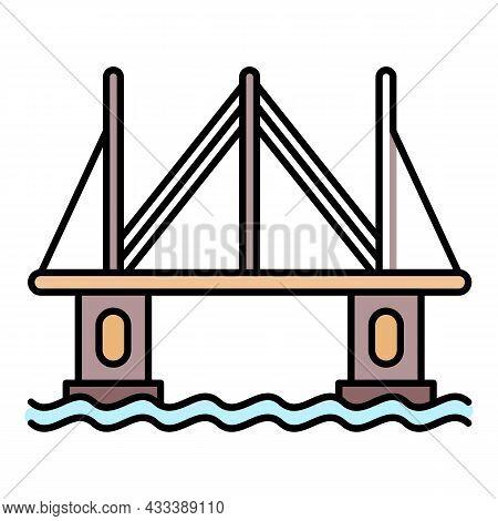Modern City Bridge Icon. Outline Modern City Bridge Vector Icon Color Flat Isolated