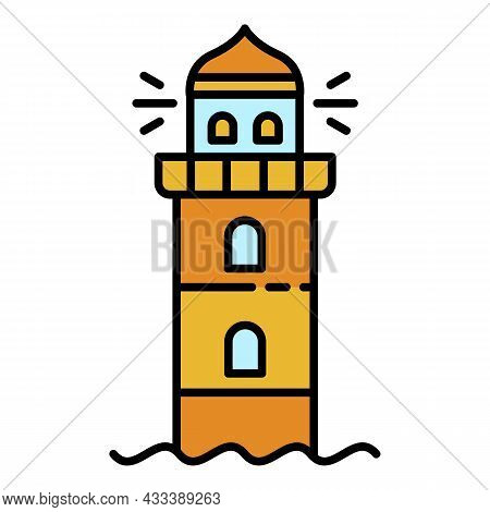 Marine Lighthouse Icon. Outline Marine Lighthouse Vector Icon Color Flat Isolated
