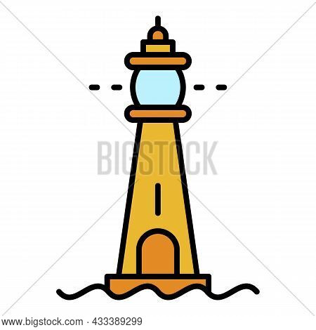 Glass Lighthouse Icon. Outline Glass Lighthouse Vector Icon Color Flat Isolated