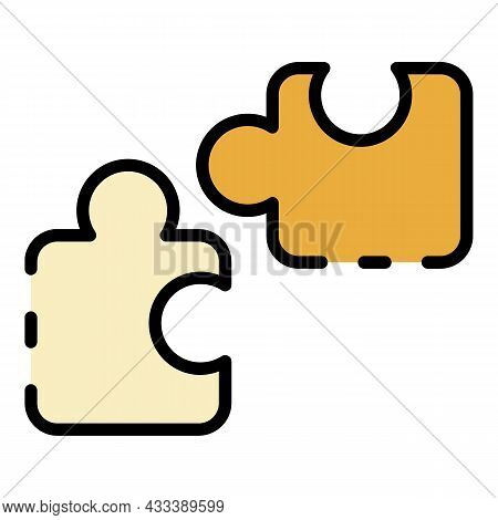 Puzzle Parts Icon. Outline Puzzle Parts Vector Icon Color Flat Isolated
