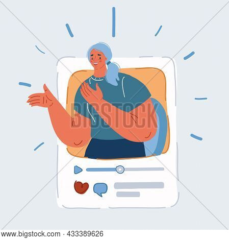 Vector Illustration Of Blogger Chanel In Social Network Community Page. Post Of Vlog Person Concept