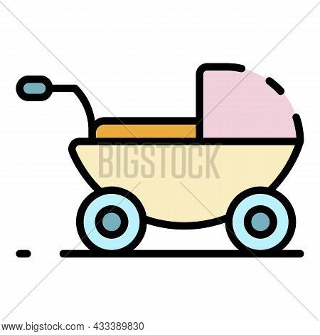 Baby Pram Icon. Outline Baby Pram Vector Icon Color Flat Isolated