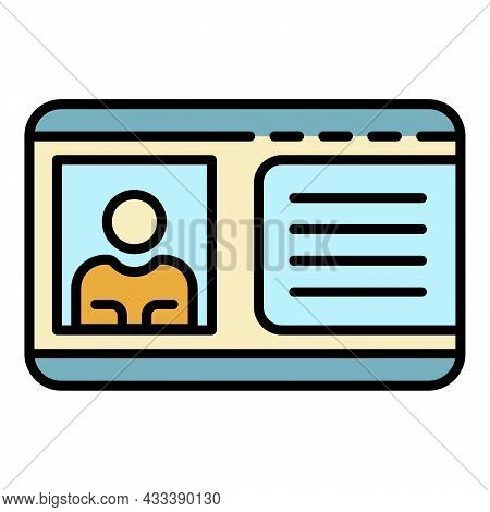 Driver License Icon. Outline Driver License Vector Icon Color Flat Isolated