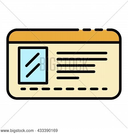 Driver License Id Icon. Outline Driver License Id Vector Icon Color Flat Isolated