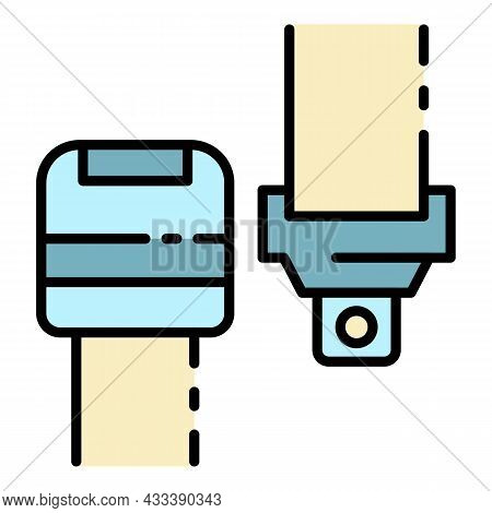 Car Safety Belt Icon. Outline Car Safety Belt Vector Icon Color Flat Isolated