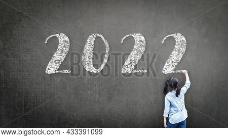 2022 Happy New Year School Class Academic Calendar With Student Kid's Hand Drawing Greeting On Teach