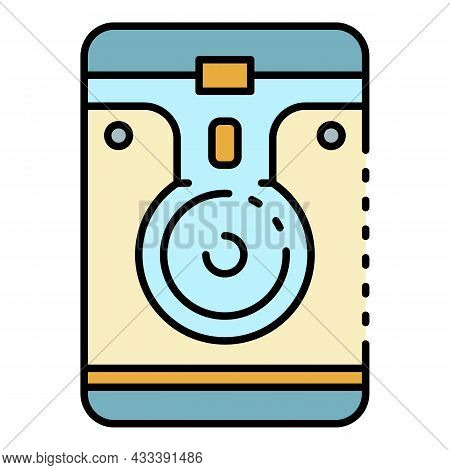 Portable Hard Disk Icon. Outline Portable Hard Disk Vector Icon Color Flat Isolated
