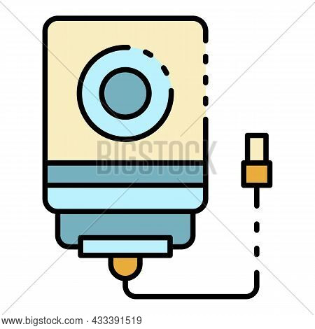 Usb Hard Disk Icon. Outline Usb Hard Disk Vector Icon Color Flat Isolated