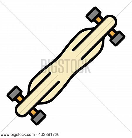 Speed Road Skateboard Icon. Outline Speed Road Skateboard Vector Icon Color Flat Isolated