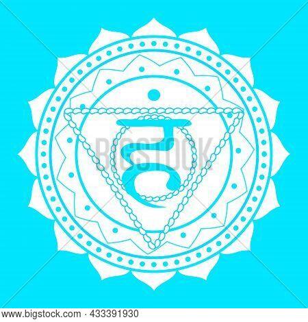 Line Drawing.the Fifth Chakra Of Vishudha. Throat Chakra With Hindu Sanskrit. Blue Is A Flat Symbol