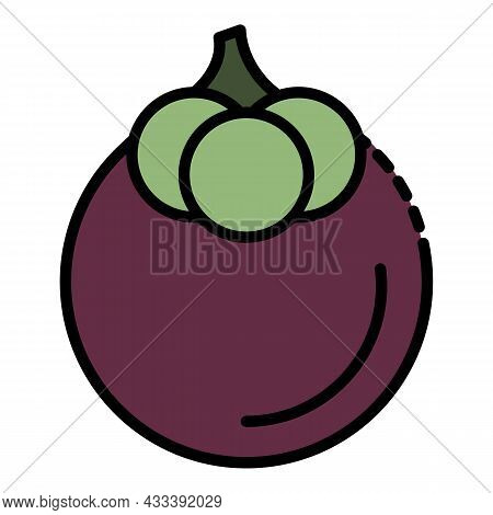 Tasty Mangosteen Icon. Outline Tasty Mangosteen Vector Icon Color Flat Isolated