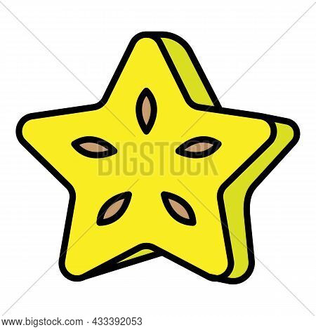 Carambola Piece Icon. Outline Carambola Piece Vector Icon Color Flat Isolated