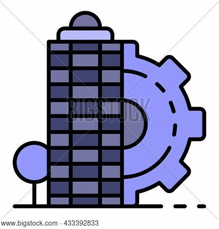 City Architectural Building Icon. Outline City Architectural Building Vector Icon Color Flat Isolate