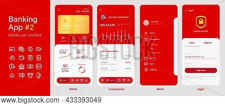 Banking App Mobile Interface User Interface Layout Screen Application Design In Red Color Gold Card