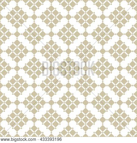 Golden Geometric Squares Pattern. Vector Abstract Gold And White Seamless Texture With Diamond Grid,