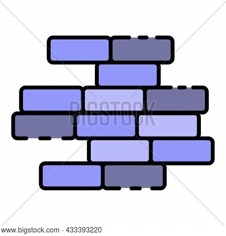 Brick Wall Icon. Outline Brick Wall Vector Icon Color Flat Isolated