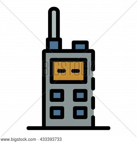 Walkie Talkie Icon. Outline Walkie Talkie Vector Icon Color Flat Isolated
