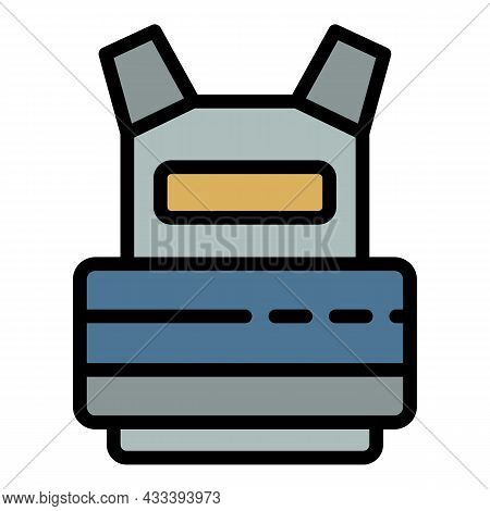 Bulletproof Vest Icon. Outline Bulletproof Vest Vector Icon Color Flat Isolated