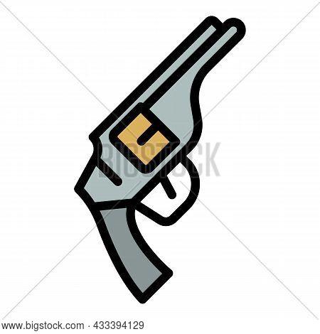 Revolver Icon. Outline Revolver Vector Icon Color Flat Isolated