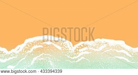 Tropical Sea Beige Blue Background With Sea Waves And Sand. Basis For Banners, Postcards