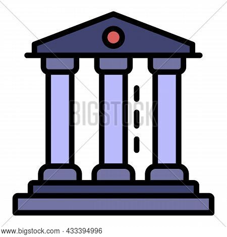 Courthouse Icon. Outline Courthouse Vector Icon Color Flat Isolated
