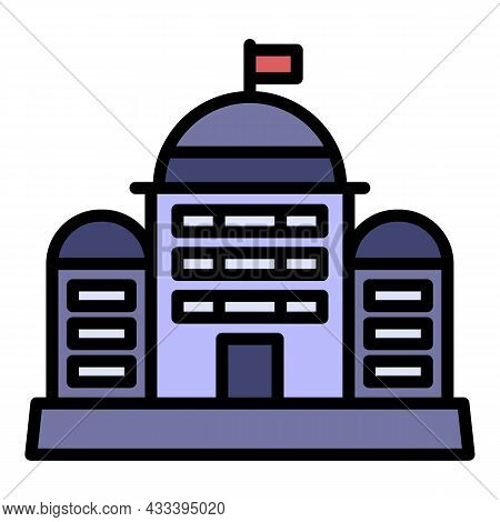 City Courthouse Icon. Outline City Courthouse Vector Icon Color Flat Isolated