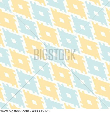 Modern Geo Ethnic Pattern. Seamless Tribal Illustration With Yellow And Mint Lines And Shapes. Vecto