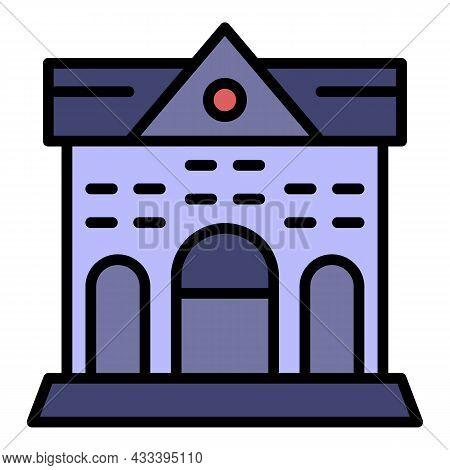 Lawyers Courthouse Icon. Outline Lawyers Courthouse Vector Icon Color Flat Isolated