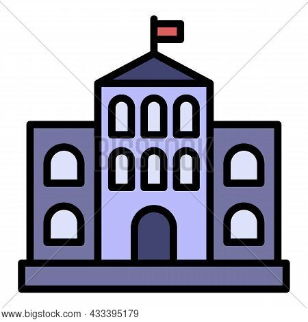 Architectural Courthouse Icon. Outline Architectural Courthouse Vector Icon Color Flat Isolated