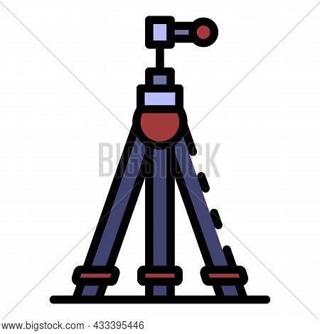 Camera Tripod Icon. Outline Camera Tripod Vector Icon Color Flat Isolated
