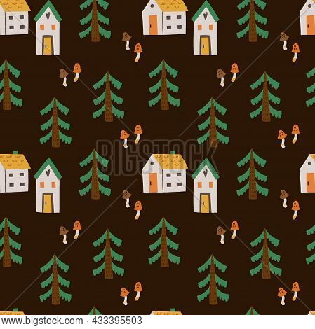 Cozy Home Seamless Pattern. Cute Little Forest Houses In Night, Moon And Cloud, Hand Drawn Cartoon S