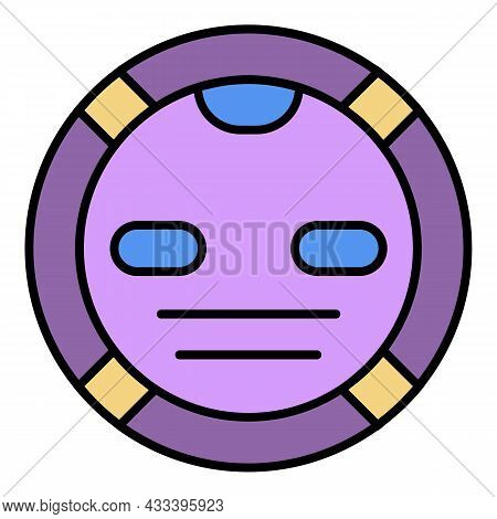 Robot Vacuum Cleaner Icon. Outline Robot Vacuum Cleaner Vector Icon Color Flat Isolated
