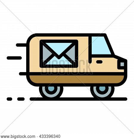 Post Delivery Truck Icon. Outline Post Delivery Truck Vector Icon Color Flat Isolated