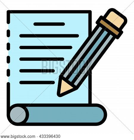 Pencil Write Letter Icon. Outline Pencil Write Letter Vector Icon Color Flat Isolated