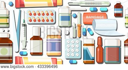 Medicines Seamless Pattern. Illustration With Pills. Concurrency. Medicinal Drugs. Pharmaceuticals.