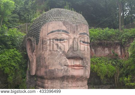 The Ancient Leshang Grand Buddha Statue Located In Shizhong District Of Leshan Sichuan Province Chin