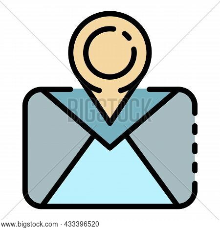 Tracking Post Letter Icon. Outline Tracking Post Letter Vector Icon Color Flat Isolated