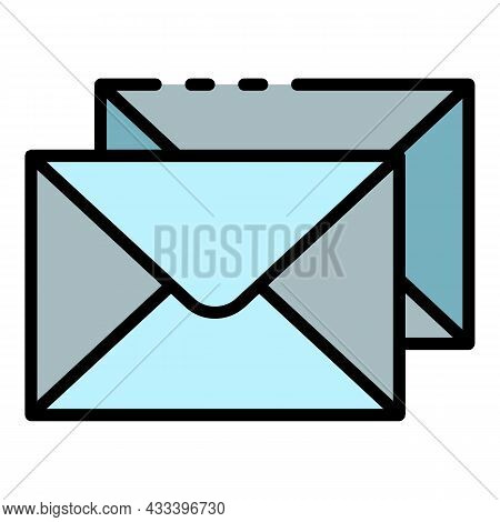 Stack Envelope Icon. Outline Stack Envelope Vector Icon Color Flat Isolated