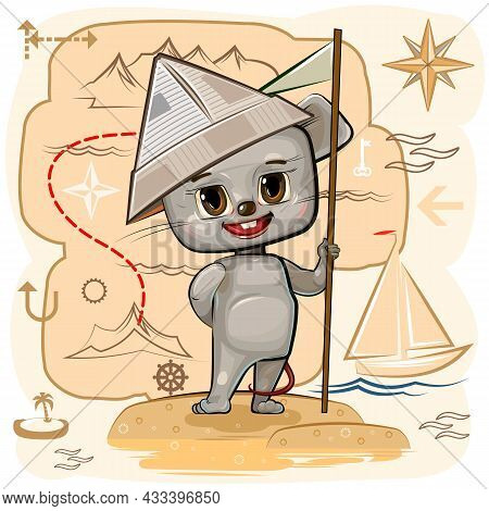 Mouse Is Traveler. Child Game. Map With Route. Look For Pirate Treasures On Island And Have Fun In S