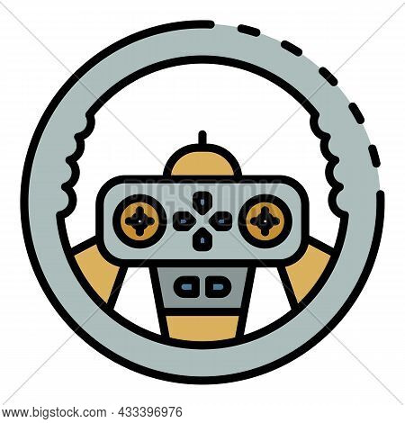 Gamepad Steering Wheel Icon. Outline Gamepad Steering Wheel Vector Icon Color Flat Isolated