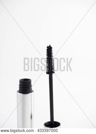 Open Mascara Isolated On A White Background. Cosmetics For Women. Brush For Applying Mascara