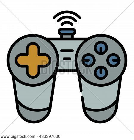 Wireless Joystick Icon. Outline Wireless Joystick Vector Icon Color Flat Isolated