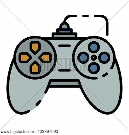 Button Joystick Icon. Outline Button Joystick Vector Icon Color Flat Isolated