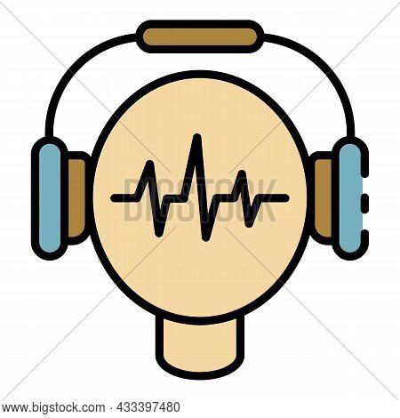 Audio Headphones Learning Icon. Outline Audio Headphones Learning Vector Icon Color Flat Isolated